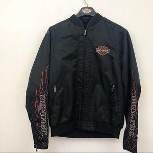 Harley Davidson black spellout flame bomber jacket